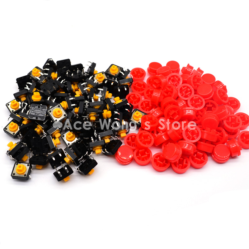 Free shipping,100PCS Tactile Push Button Switch Momentary 12*12*7.3MM Micro switch button + (100pcs Red Tact Cap) 50pcs lot 6x6x4 3mm 4pin smt g88 tactile tact push button micro switch self reset dip top copper free shipping