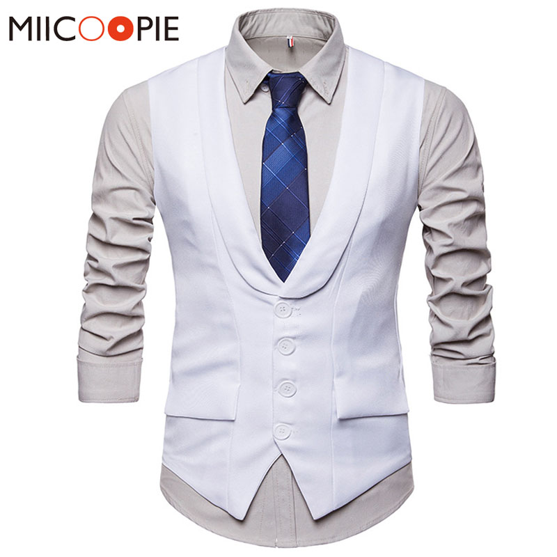 Dress Vests For Men Formal Wedding V-neck Single-breasted Slim Fit Waistcoat Gilet Men Vest Sleeveless Business Chaleco Hombre