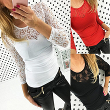 Women T Shirts Regular Casual Solid O Neck Sexy Girl Hot Style Lace T Shirt Blusa Ropa Mujer Vetement Femme