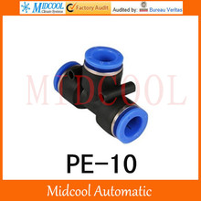 Quick connector PE-10,10mm T thread three-way pipe joint plastic socket pneumatic  hose components,air fitting