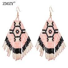 ZMZY – boucles d'oreilles suspendues pour femmes, style Boho, bijoux à pampilles, perles de rocaille, faites à la main