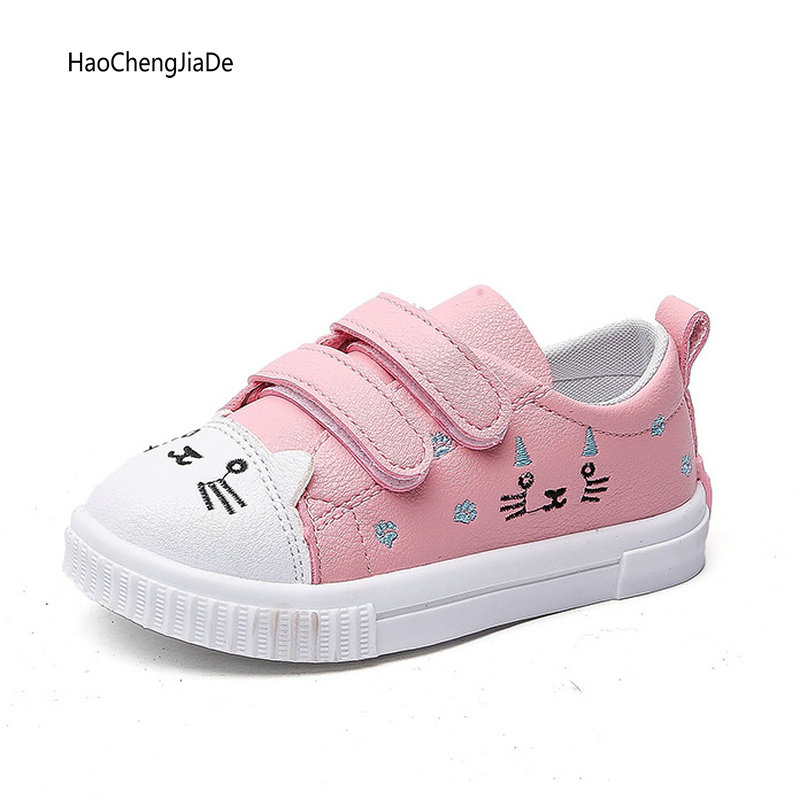 Spring Autumn Fashion New Single Shoes Children Casual Shoes Girls Cute Cat Non-slip Flat Sports White Shoes Kids Sneakers Shoes