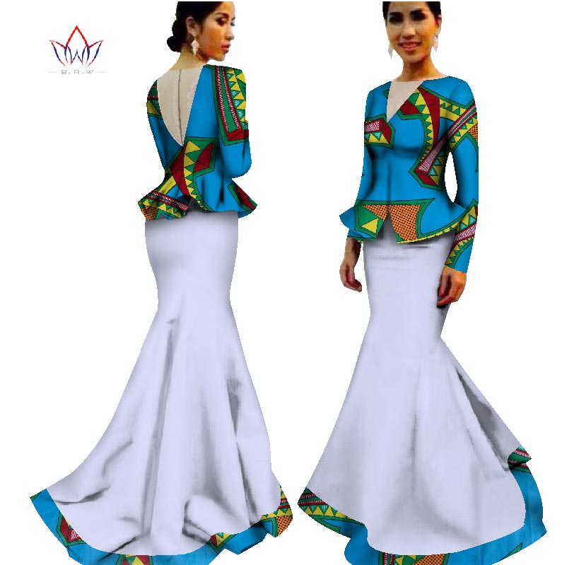 lantai-panjang bazin tradisional pakaian afrika pakaian musim panas - Pakaian kebangsaan - Foto 4