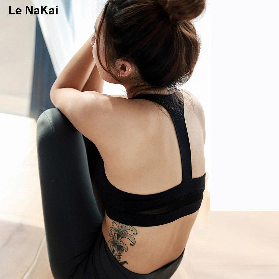 High Support fitness women sports bra Open Racer Back Mesh yoga bra Seamless padded push up sports bra high impact mesh crop top