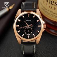 Luxury YAZOLE Rose Gold Genuine Leather Quartz Analog Dress Men Male Wristwatches Wrist Watch Clock No