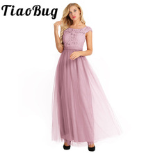 TiaoBug Embroidered Women Lady Bow Summer Style Fast Shipping Long  Sleeveless Ball Gown Prom Chiffon Princess 41d026965d1e