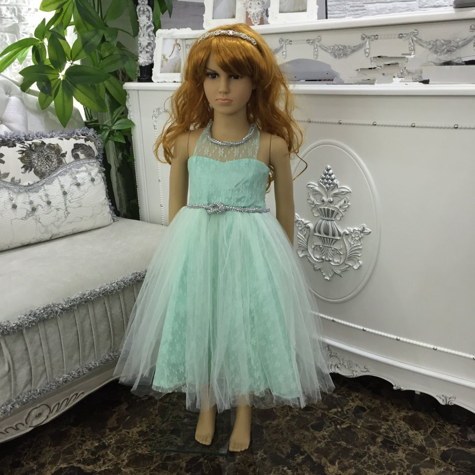 Free shipping Mint Green Girl Party Dress Formal children Gown Plus Size dresses For Kids 3-8 Years in stock Sales X-C546