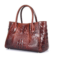 100% Genuine Oil Wax Leather Women Messenger Shoulder Top Handle Bags Crocodile Pattern Business Lady Cross Body Tote Handbag
