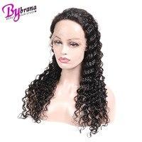 360 Кружева Фронтальная предварительно сорвал человеческие волосы 100% натуральный черный Парики Бразильский афро кудрявый вьющиеся длинные