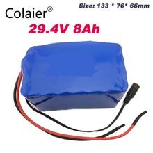 Colaier 24v 8ah 7S4P pil 15A BMS 250w için 29.4V 8000mAh pil paketi tekerlekli motor kiti elektrik güç