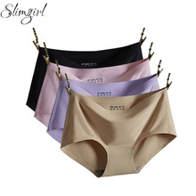 be21e874006 Slimgirl Women s Sexy Panties Strong Elastic Mid-waist Ice Silk Cool Seamless  Briefs Female Big