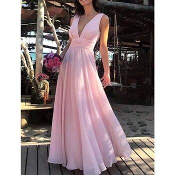 Elegant Pink Long Chiffon Prom dresses Deep V neck Empire A Line Pleated Chiffon Lace Formal Party Gowns Vestidos De Fiesta