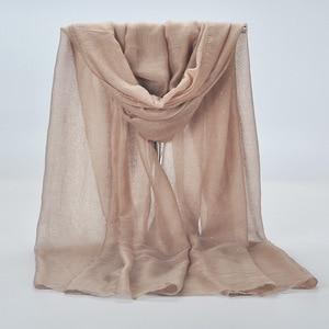 Image 2 - 20 kolor 2019 nowe zimowe kobiety czarny granatowy jednolity kolor muzułmański hidżab Shimmer Glitter szalik Wrap kobieta 90cm * 180cm