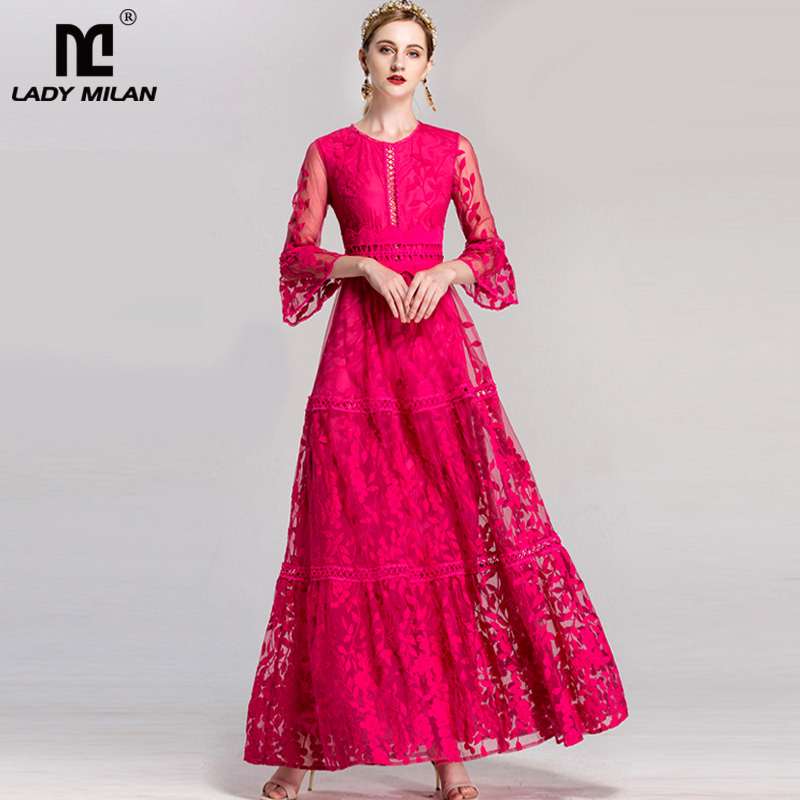 Luxury New Arrival 2019 Women s O Neck 3 4 Flare Sleeves Embroidery Lace Hollow Out