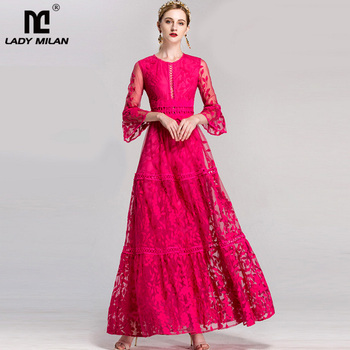 Luxury New Arrival 2020  Women's O Neck 3/4 Flare Sleeves Embroidery Lace Hollow Out Elegant Prom Maxi Party Runway Dresses