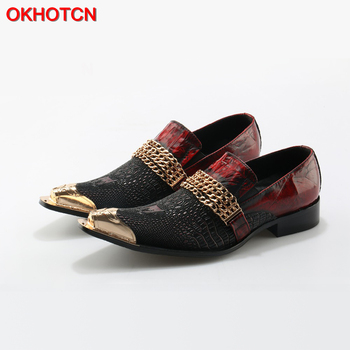 Handmade Alligator Leather Metal Toe Men Shoes With Gold Chain Buckle Black Red Party Banquet Men Dress Wedding Loafers Shoes