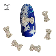 10 Pcs/bag Nail Alloy Silver New Bow Cor Gem Paste The Crystal Manufacturers Supply 3D Art Decoration DIY Tools H18