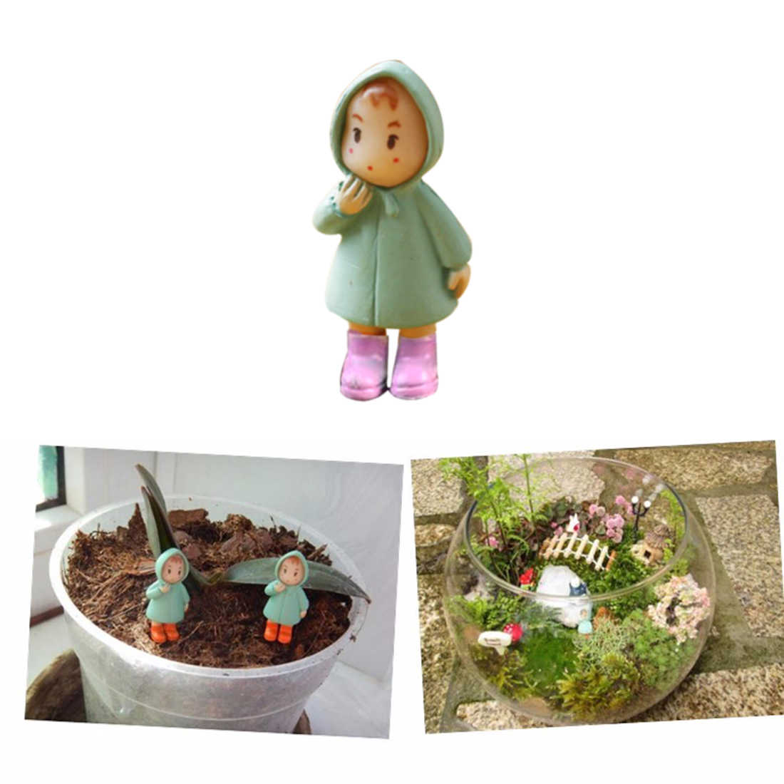 New 1PCS Cute Mini Figurines Miniature Girl Mei Resin Crafts Ornament Fairy Garden Gnomes Moss Terrariums Home Decorations