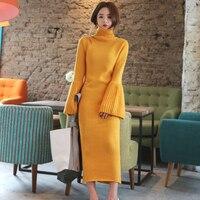 2019 Spring Women Sweater Dress Turtleneck Flare Sleeve Side Split Long Knitted Dress Female Elastic Warm Vestidos Elegant