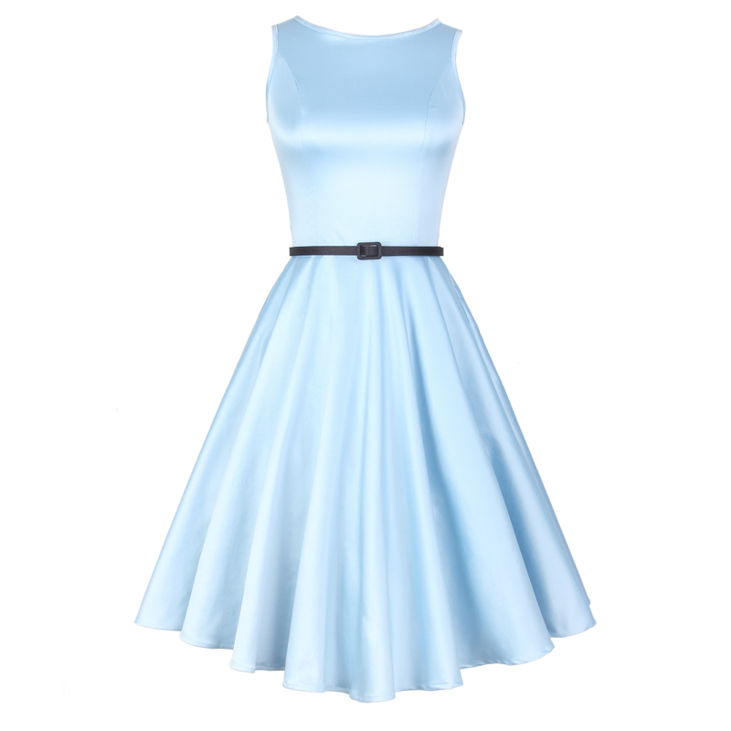 Mr. and miss FREE SHIPPING 2016 Summer New Arrival Vintage Solid Light Blue O Neck Sleeveless High Waist Slim Knee Length Dress Women Clothes