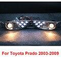 Chrome LED Delanteras Antiniebla Lámparas Luces Para Toyota Prado FJ Land Cruiser 120 Accesorios 2003-2009