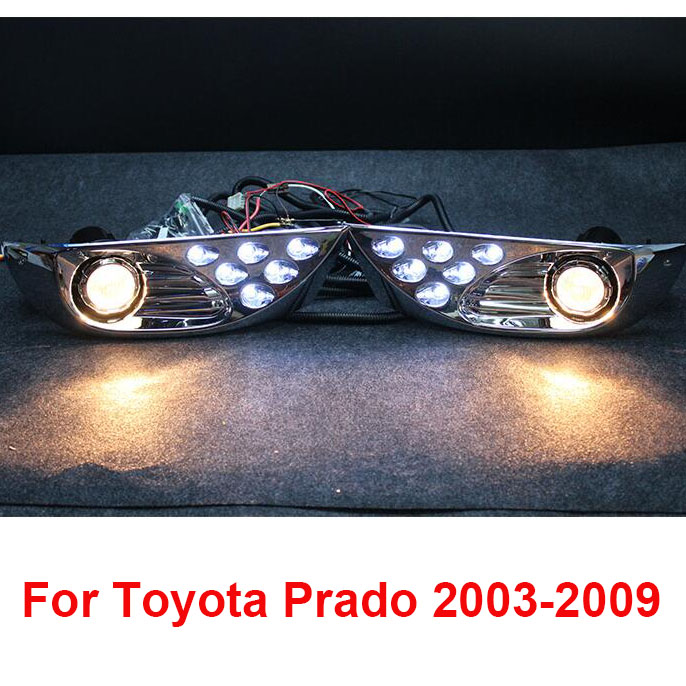 Chrome LED Front Fog Lamps Lights For Toyota Land Cruiser Prado FJ 120 Accessories 2003-2009 2pcs pair front bumper spot fog lights for toyota land cruiser prado fj90 1997 1999