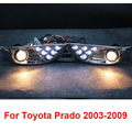 Chrome LED Front Fog Lamps Lights For Toyota Land Cruiser Prado FJ 120 Accessories 2003-2009