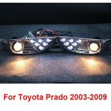 Chrome LED Anteriore Fari Fendinebbia Luci Per Toyota Land Cruiser Prado FJ 120 Accessori 2003-2009