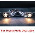 Chrome LED Lâmpadas Luzes de Nevoeiro Da Frente Para A Toyota Land Cruiser Prado FJ 120 Acessórios 2003-2009