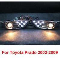 Chrome LED Front Fog Lamps Lights For Toyota Land Cruiser Prado FJ 120 Accessories 2003 2009