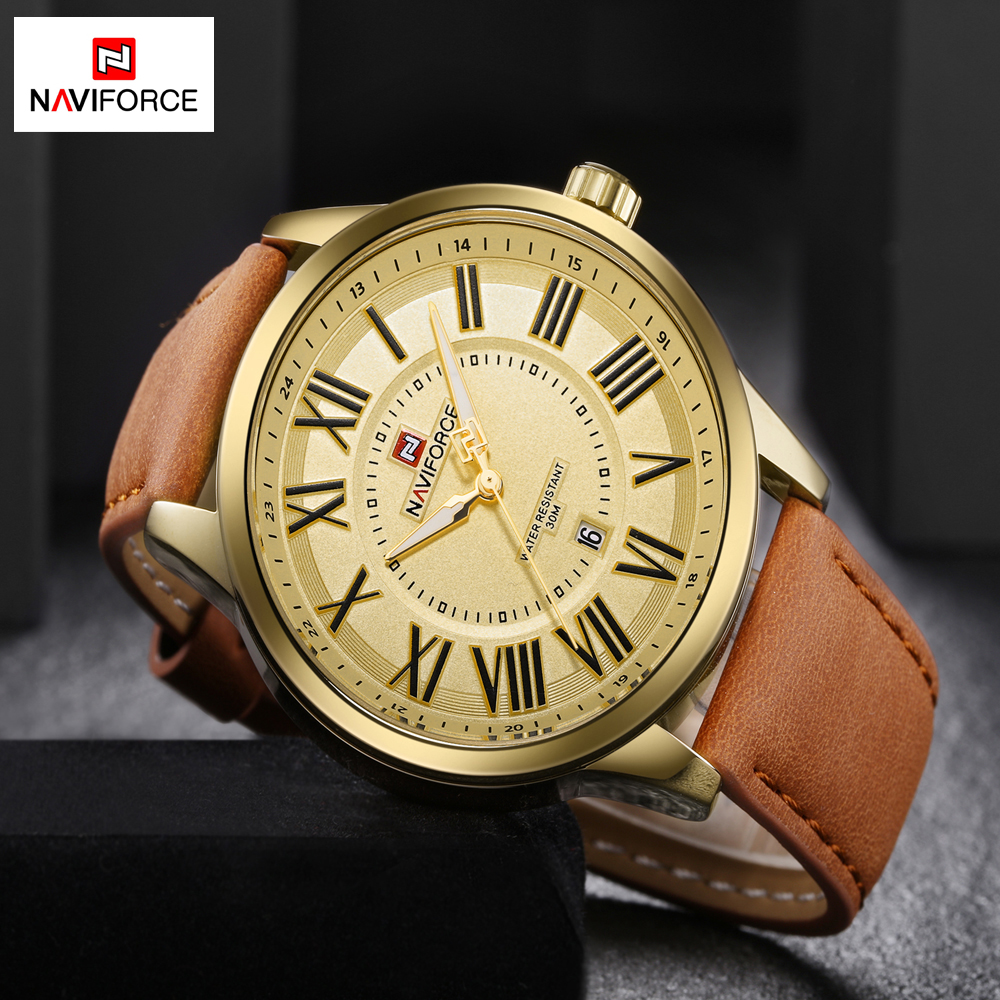 Mens Watches Top Brand Luxury NAVIFORCE Leather Quartz Watch Men Sport Casual Wristwatch Waterproof Clock Male relogio masculino hongc watch men quartz mens watches top brand luxury casual sports wristwatch leather strap male clock men relogio masculino