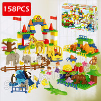 158pcs My First Ville Big City Zoo Animals Park Forest Giraffe Figure Model Building Blocks Toy Brick Compatible With Lego Duplo
