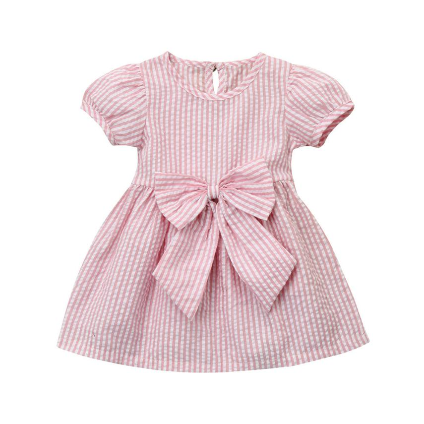 Childrens Clothing Cotton Striped BabyGirls Dresses Bow Short Sleeve A-line Cute Casual  ...