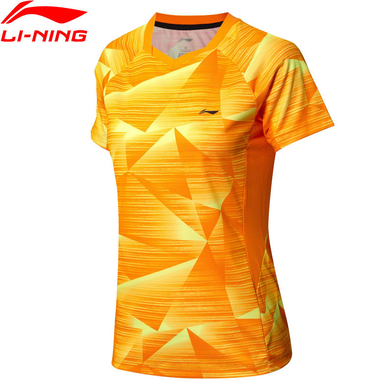 Logical Li-ning Womens Badminton Competition T-shirts At Dry Breathable Comfort Lining Sports Tees Tops T-shirt Aayn074 Wts1434 Structural Disabilities Sports & Entertainment Sports Clothing
