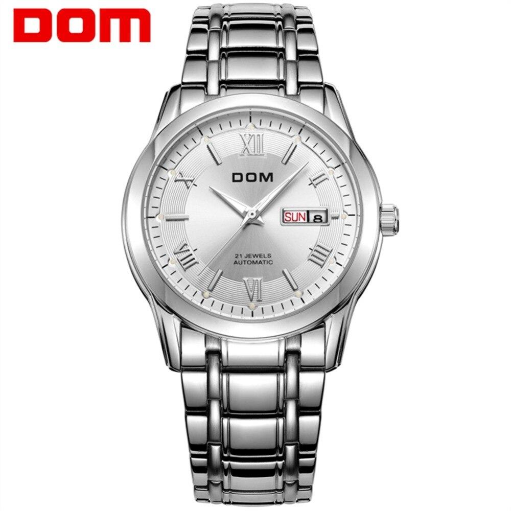все цены на men watches DOM Brand top luxury waterproof mechanical stainless steel man watch Business reloj hombre reloj M-53D7M онлайн