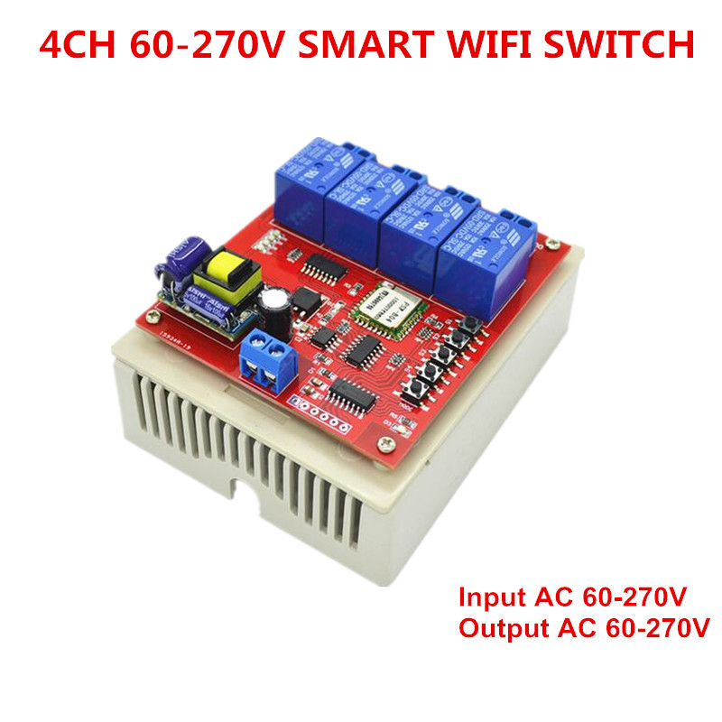 220V 4CH Channel Smart Wifi Switch 4 Way 110V 270V Directly Control Home Appliance 10A wi-fi Control by Phone APP