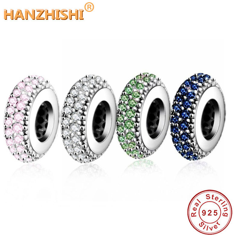 Calvas New Hot Sale 100/% 925 Sterling Silver Glamorous Pave Barrel Clip Charm Beads Fit Original Design Bracelet Authentic Jewelry Gift