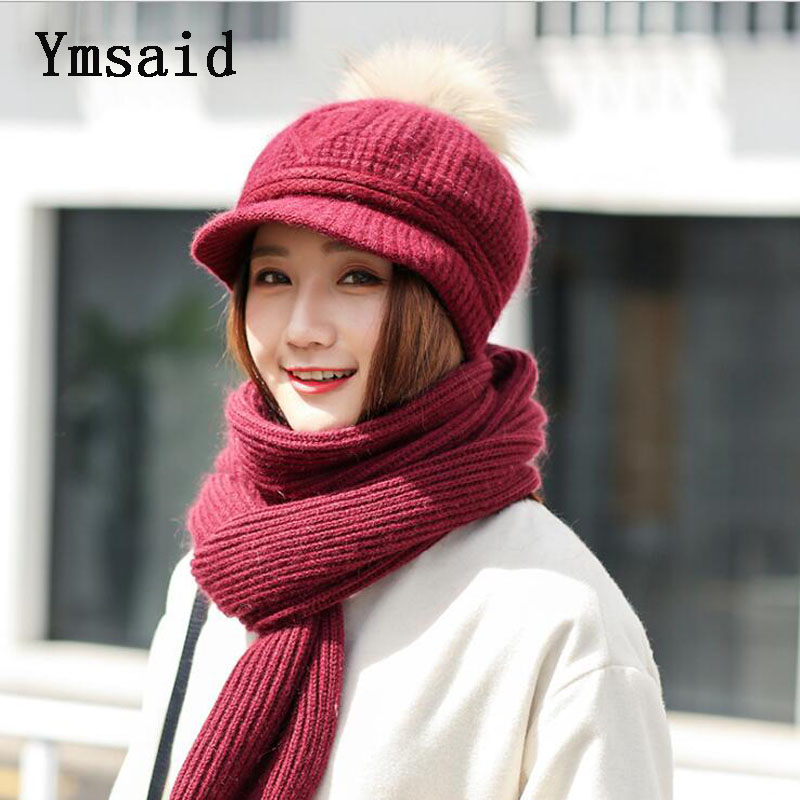 10 Colors 2 Pieces Hat and Scarf Women Winter Long Knit Fur Scarf Hat Scarf Winter Cashmere Knitting Wool Cap Warm Female Leisur skullies 2017 new arrival hedging hat female autumn and winter days wool cap influx of men and women scarf scarf hat 1866729