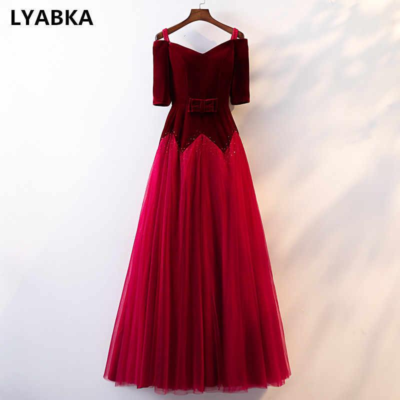 6b551bafc1540d2 Половина рукава вечернее платье настоящая фотография мужские вечерние  Бархатные костюмы бордового цвета платья длинное платье 2019
