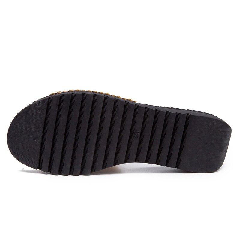 DRKANOL Handmade Sewing Genuine Leather Summer Women Slippers Open Toe Sandals Woman Shoes Flat Slippers Beach Flip Flops 4