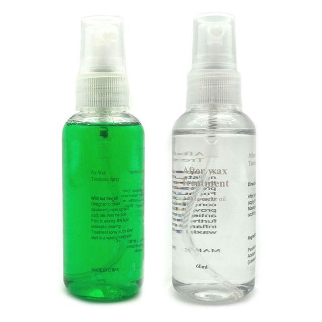 Pulverizador de depilación de cuerpo suave antes y después del removedor de cera