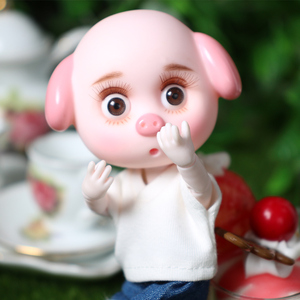 Image 2 - DBS 1/12 BJD 26 joint body cute pig ob11 doll con vestiti scarpe regalo per bambini 15cm mini doll nome di DODO
