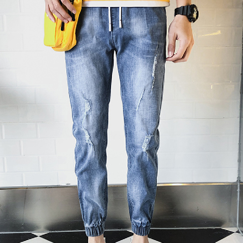 Spring New Jeans Men Stretch Slim Fashion Casual Denim Pants Man Streetwear Jeans Ninth Pants Hip Hop Trousers Male Clothes in Jeans from Men 39 s Clothing