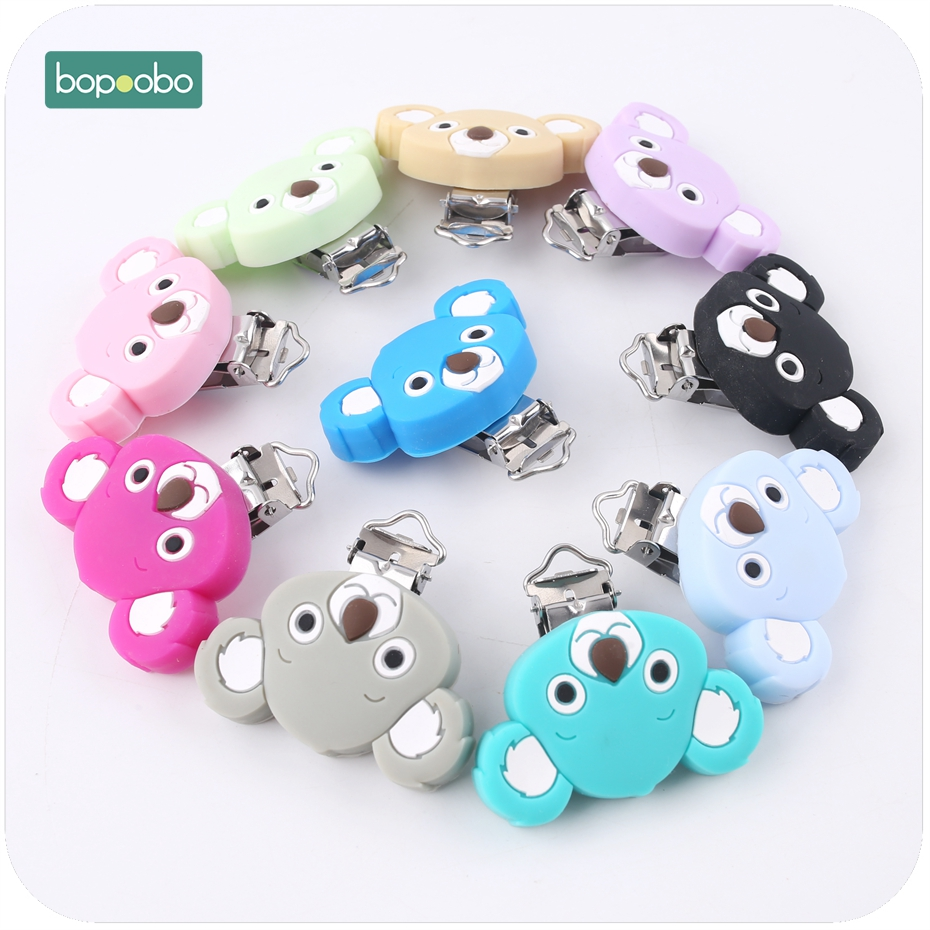 Bopoobo 5PC Cute Koala Silicone Pacifier Clip Food Grade Materials High Quality Baby Shower Gift Nursing Accessorie Binky Holder