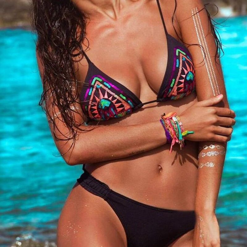 FLYMALL 2017 Sexy Bikini Sports Style Bikinis Pretty High Waist Bikinis Suits Summer Sexy Slim Swimming Suit For Women O10 9