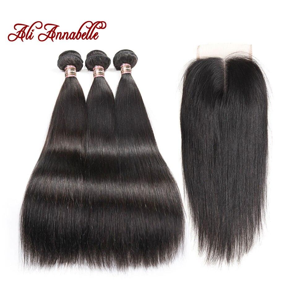 HTB14ib8aN2rK1RkSnhJq6ykdpXaX ALI ANNABELLE HAIR Straight Hair Bundles with Closure 100% Remy Human Hair Bundles with Closure Brazilian Hair Weave Bundles