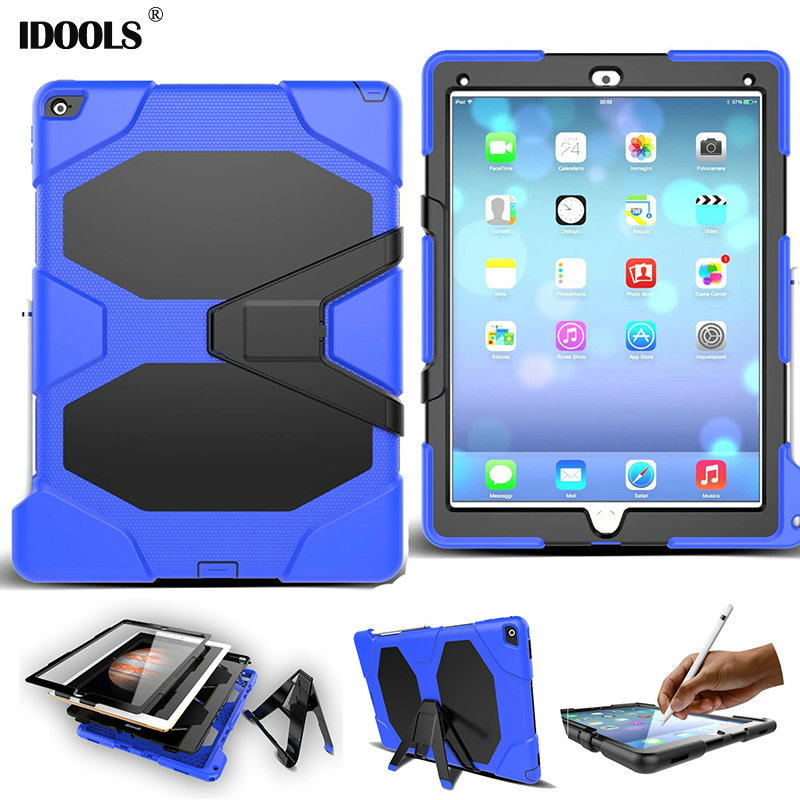 3 in 1 Hybrid Plastic+Silicon Heavy Duty Shockproof Dual Layer Rugged Military Armor Back Cover Case For iPad Pro IDOOLS tire style tough rugged dual layer hybrid hard kickstand duty armor case for samsung galaxy tab a 10 1 2016 t580 tablet cover