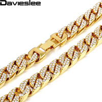 Davieslee 14mm Gold Filled Hiphop Iced Out Curb Cuban Yellow Necklace With Paved Clear Rhinestones Mens