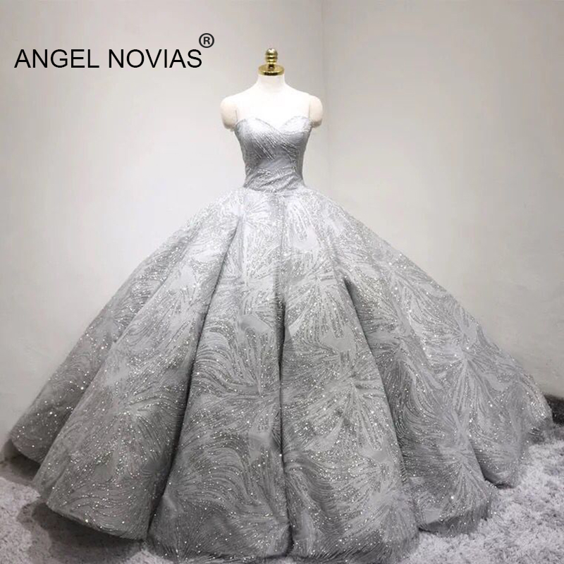 US $440.0 12% OFF|ANGEL NOVIAS Long Plus Size Silver Glitter Ball Gown  Puffy Saudi Arabia Wedding Dresses 2019 Vestido de Novia barato-in Wedding  ...