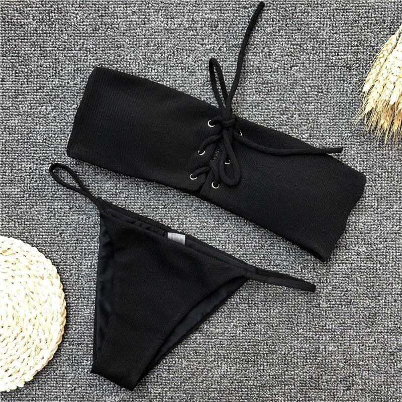 HTB14ibShTJYBeNjy1zeq6yhzVXaU Ariel Sarah Brand Sexy Swimwear Solid Bikini Women Swimsuit V Neck Bikinis Set Pants Adjust Bathing Suit Sport Style Biquini